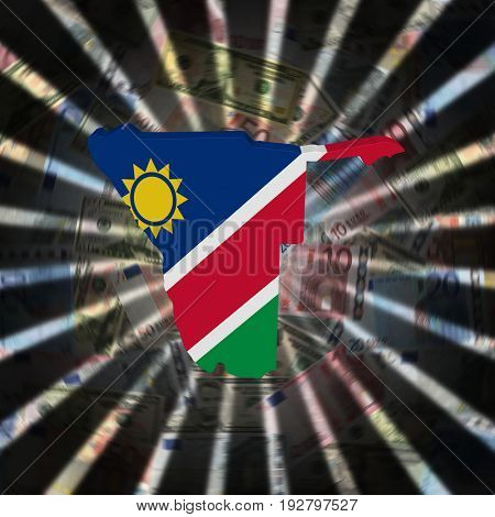 Namibia map flag on currency burst 3d illustration