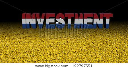 Investment text with Dutch flag on coins 3d illustration