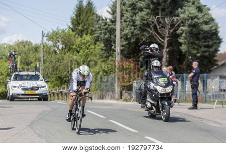 Bourgoin-Jallieu France - 07 May 2017: The Norwegian cyclist Edvald Boasson Hagen of Dimension Data Team riding during the time trial stage 4 of Criterium du Dauphine 2017.