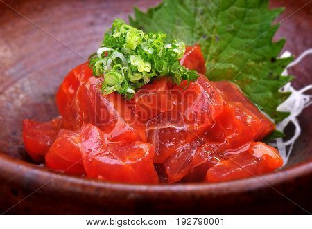 Japanese food Spicy Makuro or Tuna spicy.