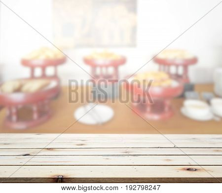 Table Top And Blur Restaurant Of Background