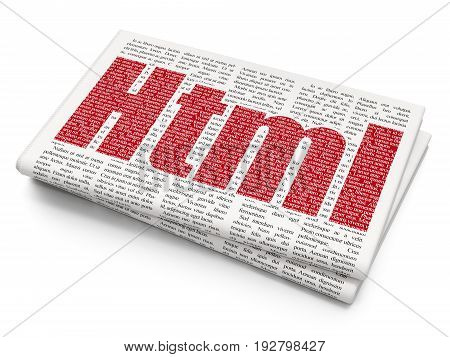 Software concept: Pixelated red text Html on Newspaper background, 3D rendering