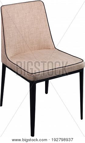 Designer beige dining chair on black metal legs. Modern soft chair isolated on white background