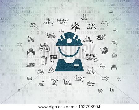 Manufacuring concept: Painted blue Factory Worker icon on Digital Data Paper background with  Hand Drawn Industry Icons