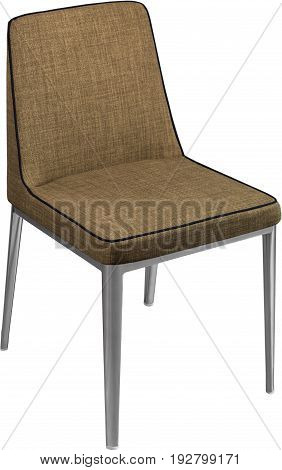 Designer brown dining chair on black metal legs. Modern soft chair isolated on white background