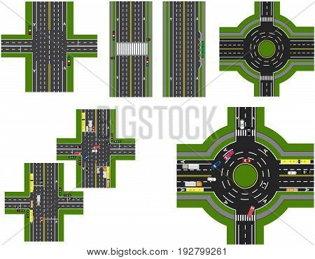 Set of abstract road junction. Crossroads of various roads. Roundabout Circulation. Transport. Vector illustration