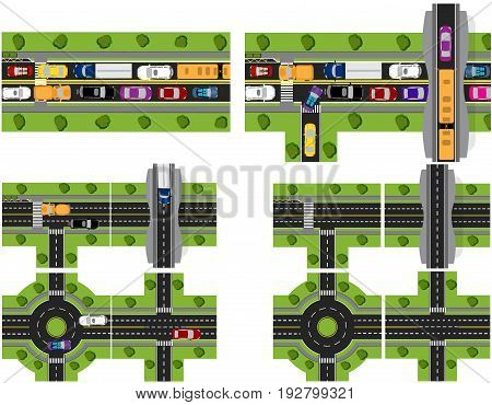 Set of abstract road junctions. Crossroads of various roads. Roundabout Circulation. Difficult traffic. Vector illustration