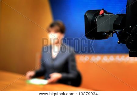 Recording in TV studio - Speaker talking To The Camera