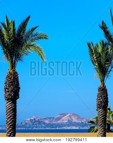 Coastline and mountain range in Cabo San Lucas Mexico