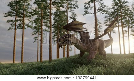 3d rendering of a dragon on hill in sunset light