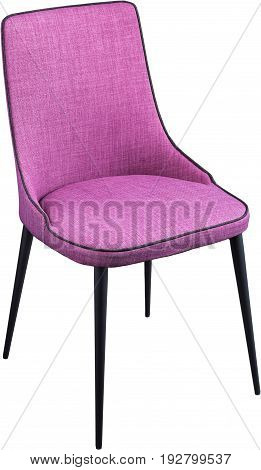 Designer violet dining chair on black metal legs. Modern soft chair isolated on white background