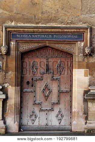 Decorative old door, Oxford University, Oxford, England