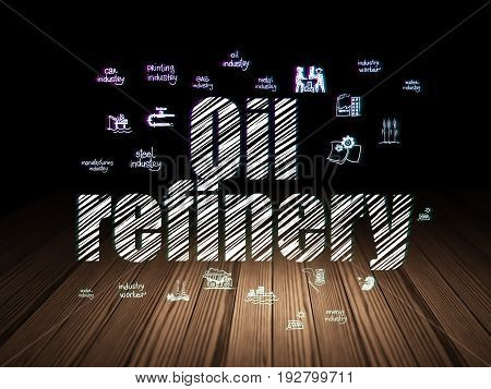 Manufacuring concept: Glowing text Oil Refinery,  Hand Drawn Industry Icons in grunge dark room with Wooden Floor, black background