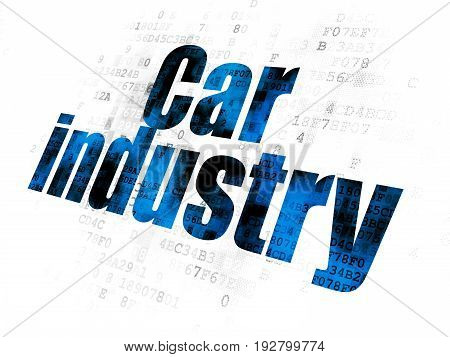 Manufacuring concept: Pixelated blue text Car Industry on Digital background