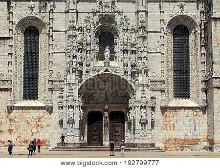 Lisbon, Portugal - April 28, 2014. Entrance gate of the Jeronimos Monastery in Lisbon, Portugal