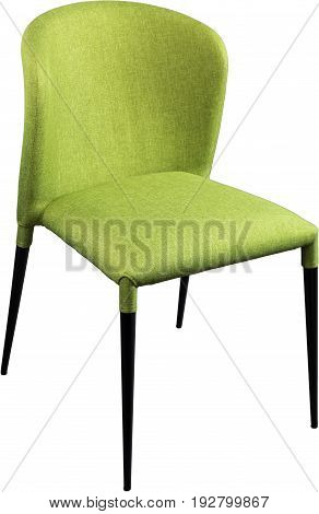 Designer green office chair on black metal legs. Modern soft chair isolated on white background