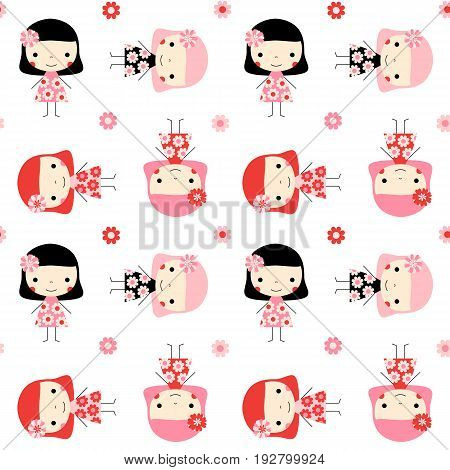 Cute seamless pattern with little girls and flowers in pink red and black colors