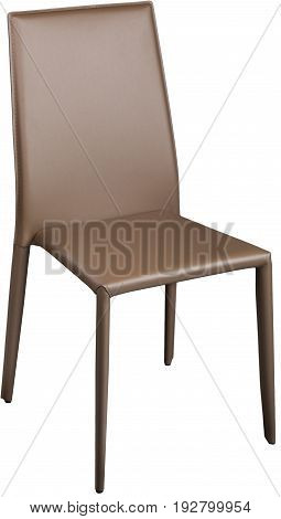 Brown color office leather chair. Modern designer chair for the interior. Isolated on white.