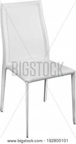 White color office leather chair. Modern designer chair for the interior. Isolated on white.