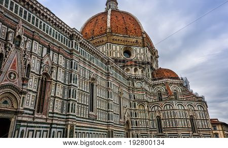 The Cattedrale di Santa Maria del Fiore (St. Mary of the Flower) in the Piazza del Duomo Florence Italy