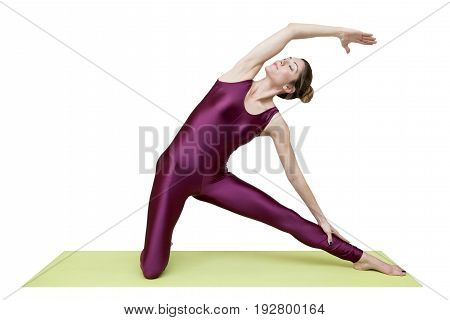 Woman practicing yoga in studio isolated on the white background