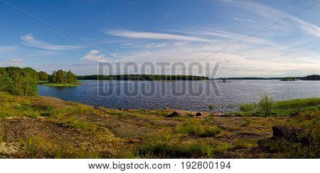 Granite coast. Baltic sea. The Gulf of Finland. Scandinavian nature
