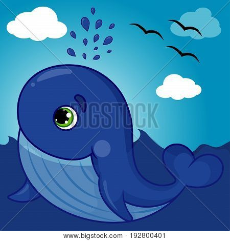 Cute Whale Character Smiling with Water Fountain Blow, Cartoon Hand Drawn Vector Illustration EPS 10
