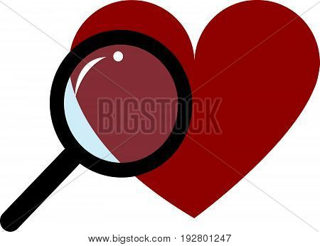 Red Heart and Magnifying Glass on White Background, Black Loupe, Vector Illustration EPS10