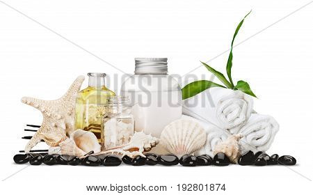 Containers sea shells white objects background set isolated