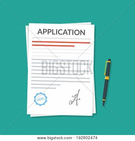 Application or document with a seal and a signature next to which is a pen. Application for leave or dismissal. Premium quality vector illustration in a flat style
