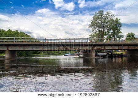St-Gabriel-de-Brandon Canada-22 June 2017 : Maskinonge River Bridge at St-Gabriel-de-Brandon in the province of Quebec in Canada