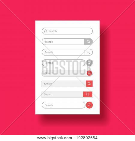 Set design element for web or mobile user interface ui. Search bar in line or flat style. Vector illustration in premium quality