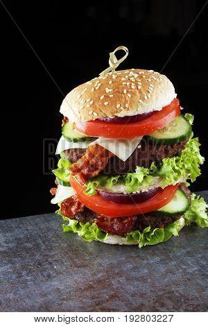 Fresh Tasty Burger On Wooden Grey Background