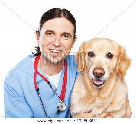 Male dog vet veterinarian background beautiful happy
