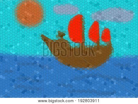 Illustration of brown ship with crimson sails in the sea with sun and clouds with mosaic effect