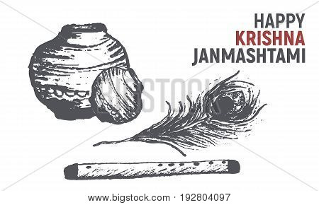 Happy Krishna Janmashtami sketch for greeting card banner template