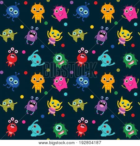 Cute seamless pattern with alien monsters in different colors on dark background for children clothes