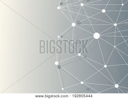 Geometric abstract background with dots array and lines. Big data complex with compounds. Connection structure. Molecule and communication. Vector
