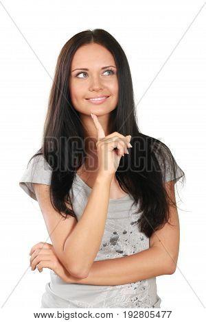 Beautiful young woman thoughtful thoughtful pose close up white