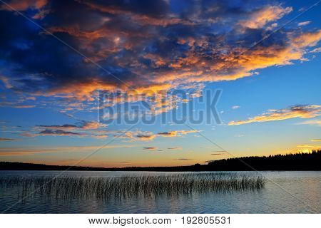 Beautifully sunset on the river Chirko-Kem. Karelia, Russia