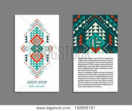 Aztec style colorful vertical flyer. American indian ornamental pattern design. Front and back pages. Ornamental blank with ethnic motifs. Tribal decorative template. EPS 10 vector concept.