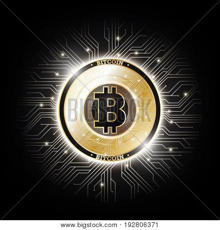 Golden bitcoin digital currency on circuit board, futuristic digital money, technology worldwide network concept, vector illustration