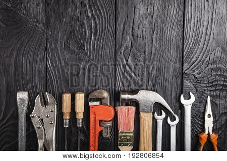 Building tools table objects background set space