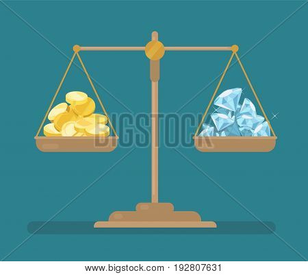Vector coins and diamonds balance on the scale