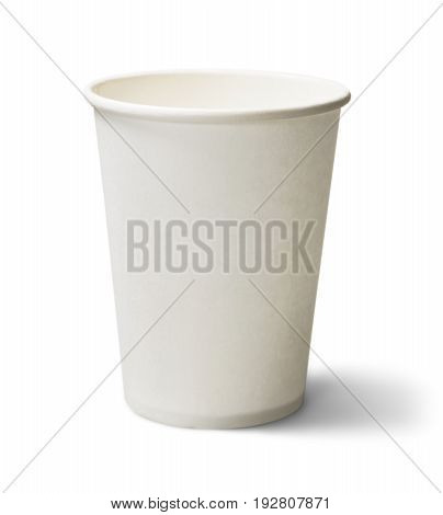 Paper cup drink white background nobody isolated