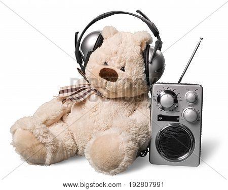 Radio teddy bear disk jockey mint green background design day