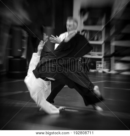 Blurred Aikido throw kokyunage with added vintage grain, blur and vignette