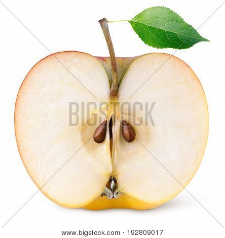 Front view of red yellow apple half fruit with green leaf isolated on white background. Half of apple and leaf with clipping path