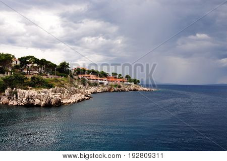 Typical Landscape coastline on Losinj and Cres islands in Croatia