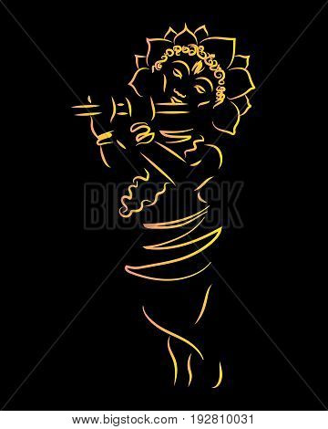 Krishna. Janmashtami. The birth of Krsna. Silhouette of a deity. Can be used as a design element.